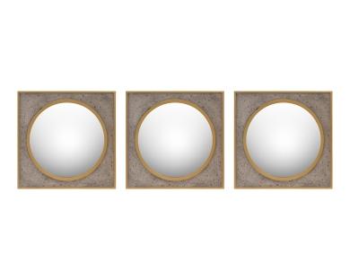 Set of Three Convex Mirrors