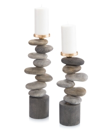 Set of Two River Rock Candleholders