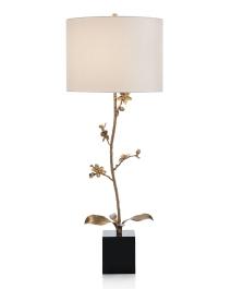 Brass Orchid Candlestick Buffet Lamp